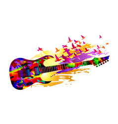 Music background with acoustic guitar and birds vector