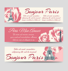 Eiffel tower and roses paris banners vector