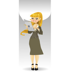 Blond girl with tablet computer and speech bubble vector image