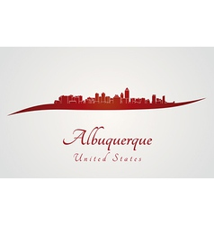 Albuquerque skyline in red vector