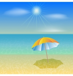 sunny sea beach with umbrella vector image