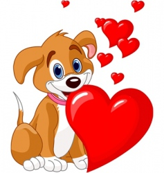 Puppy with red heart vector