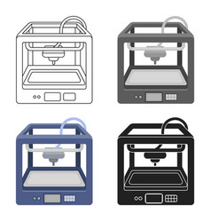 3d printer in cartoon style isolated on white vector