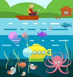 Flat style underwater life with fisherman on a vector