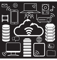 Servers of data center and network elements icons vector