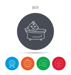Baby in bath icon toddler bathing sign vector