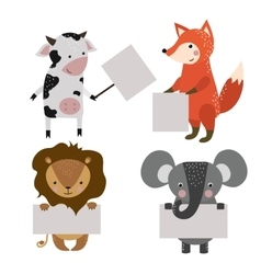 Wild animal zoo banner cartoon set vector