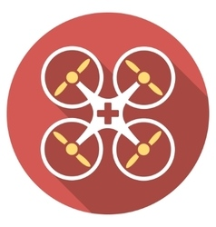 Medical drone flat round icon with long shadow vector