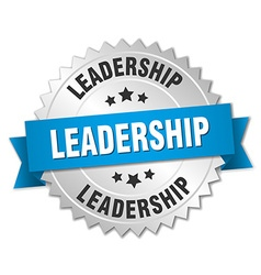 Leadership 3d silver badge with blue ribbon vector