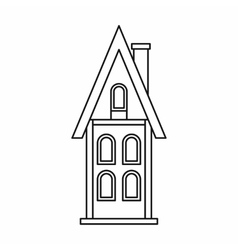 Two storey house with chimney icon outline style vector