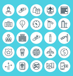 Airport icons set collection of world flight vector