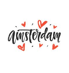 amsterdam modern city hand written lettering vector image vector image