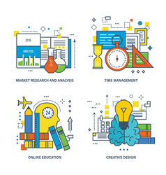 Analysis management education creative design vector