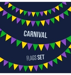 Carnival flags set isolated on dark background vector image vector image