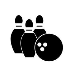 Contour bowling pin ball icon vector