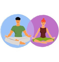 Couple doing yoga vector image