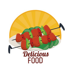 Delicious food grilled skewers with vegetables vector
