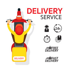 Delivery boy ride scooter motorcycle vector