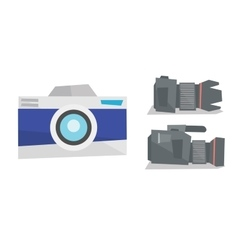 Digital photo camera and professional video camera vector image