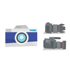 Digital photo camera and professional video camera vector image vector image