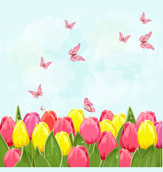 Field of blooming tulips with flying butterflies vector