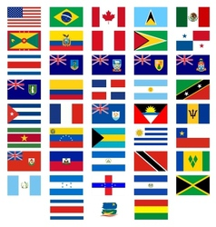 Flags of the countries of America vector image