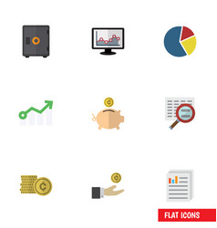 Flat icon gain set of cash chart money box and vector