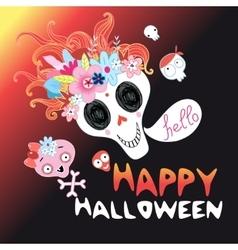 Funny halloween skull vector