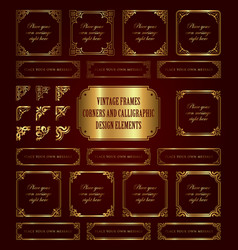 Golden vintage frames and corners vector