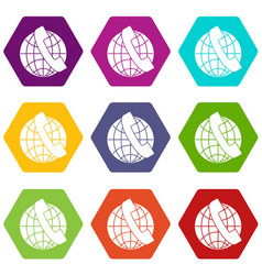 handset and globe icon set color hexahedron vector image vector image