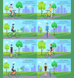 healthy active lifestyle banners with man on bike vector image vector image