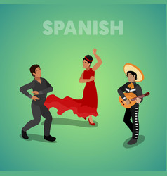 Isometric spanish dancing people vector