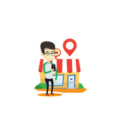 Man looking for restaurant in his smartphone vector