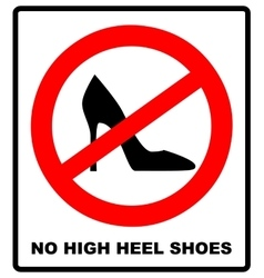 No high heel shoes sign on white background vector