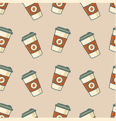 paper coffee cups seamless pattern vector image vector image