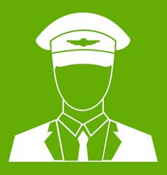 Pilot icon green vector