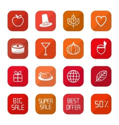 Sale Thanksgiving Icons vector image
