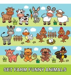 set farm funny animals vector image