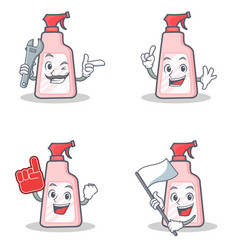 Set of cleaner character with mechanic foam finger vector