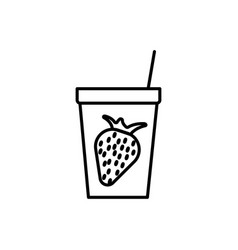 strawberry juice icon vector image vector image