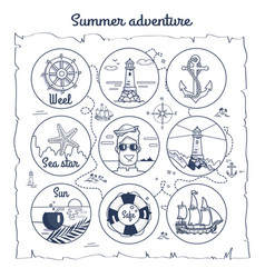 Summer adventure map depicting multiple icons vector