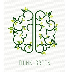 Think green human brain concept with leaf vector image vector image