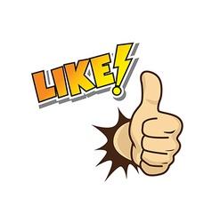 Thumb up hand sign cartoon vector