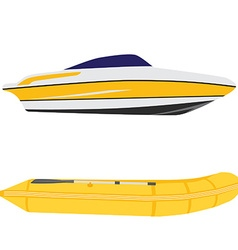 Yacht and inflatable boat vector image vector image