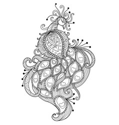 Zendoodle stylized of beautiful peacock vector