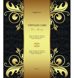 Vintage floral card template vector
