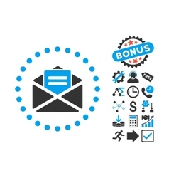 Open mail flat icon with bonus vector