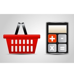 Calculator and shopping basket vector