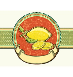 Fresh lemons vintage fruits on old background vector