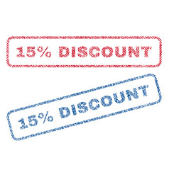 15 percent discount textile stamps vector image vector image